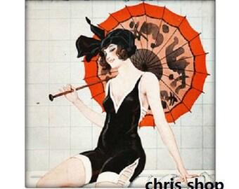 20mm square, woman with parasol (Paris life)