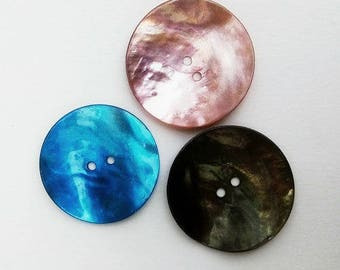 3 mother-of-Pearl buttons, 35mm, purple, green, blue
