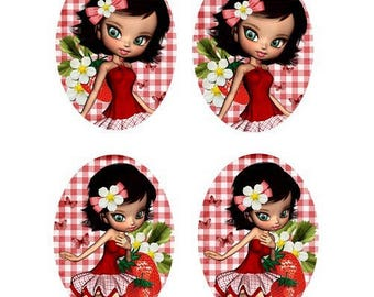 13x18mm, 2 pairs of miss strawberry cabochons