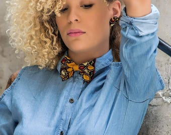 Bow tie set + Addis button earrings: accessory in wax