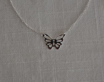 Necklace silver Sterling filigree openwork Butterfly
