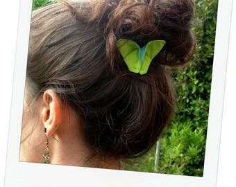 Pics 2-hair accessories origami Butterfly green flashy/Turquoise 6.5 x 4