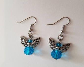 Light Blue September Angel Earrings