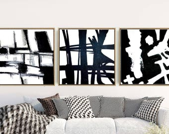 Abstract Set of 3 Prints, Black And WhiteTriptych, Abstract Art Prints, Abstract Wall Art, Wall Decor, Instant Download