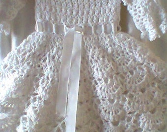 Crochet Christening Gown Outfit Baby Dress Blanket And