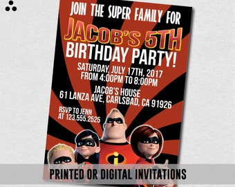 The Incredibles Invitation, The Incredibles Invite, The Incredibles Movie, The Incredibles Birthday, Physical Invitation, Digital, 3DS-028