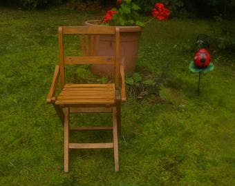 Vintage Child's Folding Camp Chair/Doll chair....Made of wood