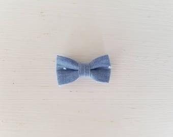 Hair clip baby Click - Clack Chambray blue satin bow