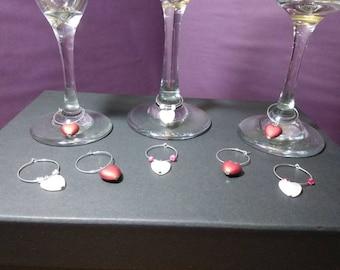 Heart wine glass charms
