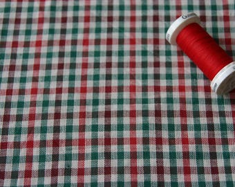 Vintage red and green plaid fabric