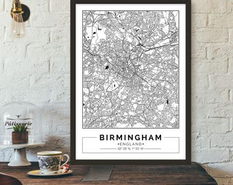 Birmingham, England, City map, Poster, Printable, Print, Street map, Wall art