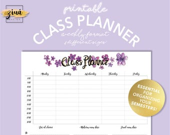 Weekly Class Planner | Instant Download | Academic Planner | Printable Planner | Organizer | Task Tracker | Daily Schedule | A5 | Floral