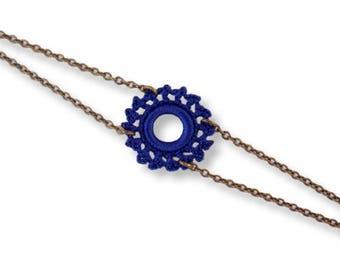 Adjustable bracelet, Midnight blue, bronze Sun pattern crochet lace