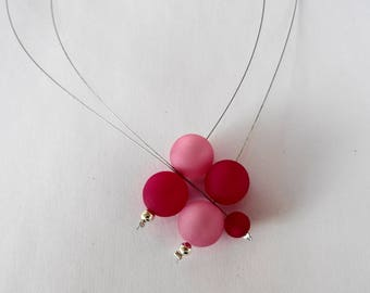 Pink polaris beads and fuchsia/wedding/gift/mother necklace