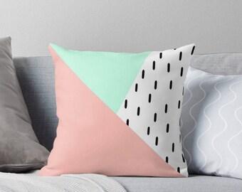 Mint and Blush Geometric Triangle Throw Pillow |Cushion| Mint and Blush|Decorative Cushion|Peach