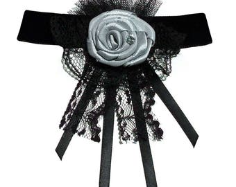 Silver rose neck satin lace Gothic Choker black velvet necklace