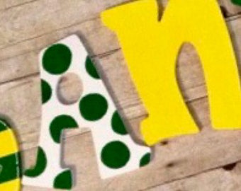 Green, Yellow and White Handpainted Letters