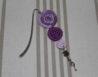 Bookmark crochet purple cotton and question mark silver metal charm