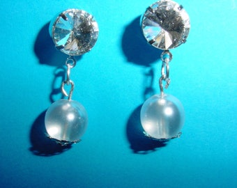 Stud Earrings, white glass beads