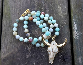 Bull Skull Amazonite Necklace