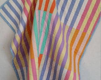 STRIPES, baby quilt, Kaffe Fassett Marquee, pastel stripes, PERSONALIZED,boy baby quilt, lightweight quilt, girl baby quilt, toddler quilt,