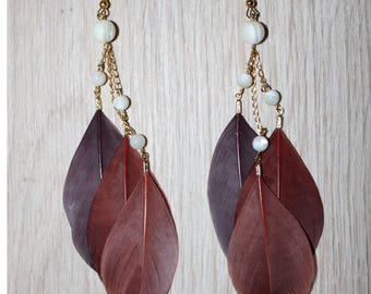 Three shades of Brown, pearl beads gold earrings