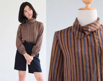 Striped long sleeves blouse funnel collar top retro vintage 90s button up  shirt 1990s Small Medium