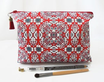 Gifts for her, Wash bag, red eclectic, pattern mix,  travel bag, cosmetic bag, zip bag, make up bag, dumpy bag, boxy pouch.