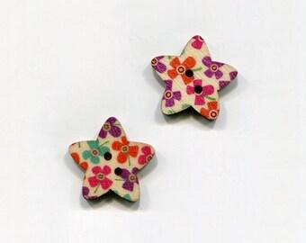 buttons 2 star 25mm * 2 flower pattern * wood