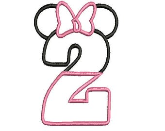 Minnie Birthday number TWO Machine embroidery applique design  instant download