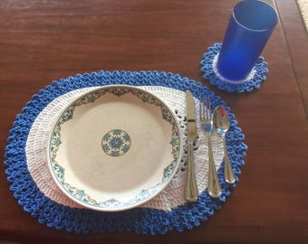 Cotton Crochet Placemats with Coasters