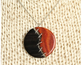 "Pendant ""sewn on silver"" - wooden jewelry"