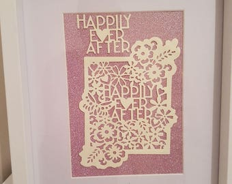 "Personalised gift wedding,anniversary,new home frame ""happily ever after """