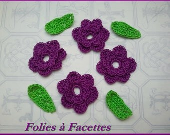 Purple crochet flowers with leaves cotton