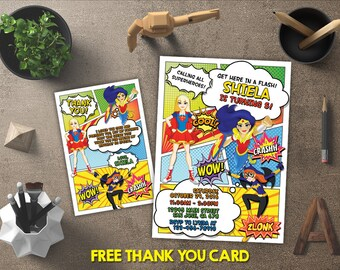 Dc Superhero Girls Invitation, Dc Superhero Girls Birthday, Dc Superhero Girls Invite, Dc Superhero Girls Printable, FREE 4x6 Thank You Card