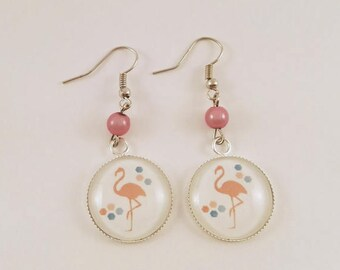 """-> """"Flamand Rose"""" round Cabochon dangle earrings"""