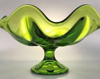 Vintage Viking Art Glass Evergreen Six Petal Compote/Fruit Bowl