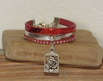 Bracelet for little girl charm, horse, pony, red, silver, glitter, leather, suede studded, leather gift idea