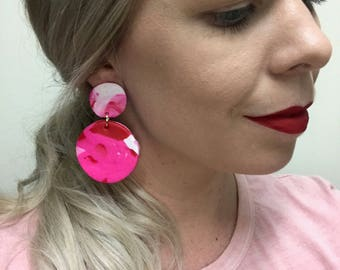Polymer Clay Earrings - 'Hot Pink'