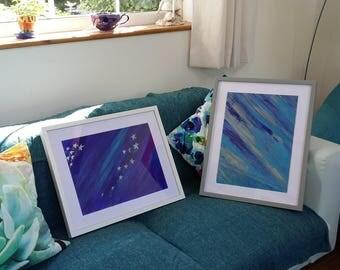 Blue acrylic painting, glitter stars, framed