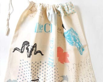 SALE - Screen printed drawstring laundry bag in beige