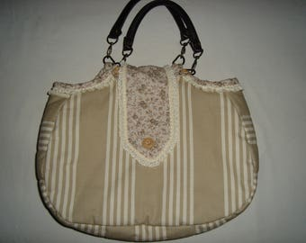 Cotton bag with stripes, Interior floral