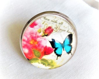 ring cabochon pink butterfly