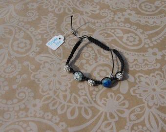 Shamballa bracelet blue and silver beads