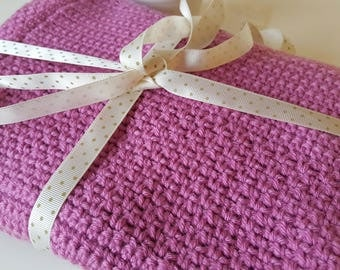 Hand Crocheted Baby Blanket - Ready to ship / Pink texture baby blanket / cot blanket / crib blanket / reversible blanket / heirloom blanket