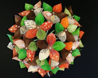 Example 17 flowers origami paper, Orange, green and chocolate