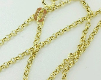 "10k Solid Yellow Gold Round Rolo Link Necklace Pendant Chain 16"" 18"" 20"" 1.9mm"