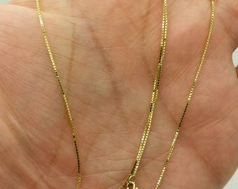 "14k Solid Yellow Gold Box Link Necklace Pendant Chain 16""-24"" .7mm"