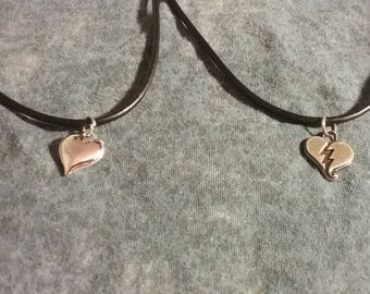 Silver Heart Leather Necklaces