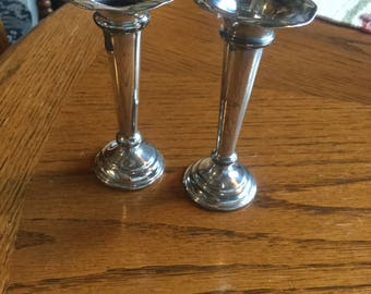 Small pair of silver plate candlesticks.